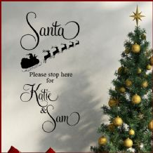 Personalised Childrens Santa Stop Here Christmas  ~ Wall sticker / decals